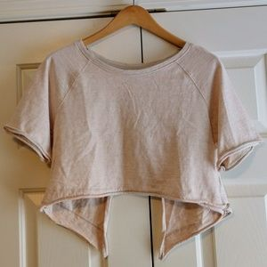 Free People Crop Top Gray Peach Stripes Open Back